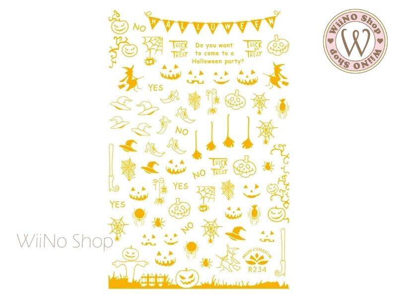Gold Halloween Adhesive Nail Art Sticker - 1 pc (R234G)