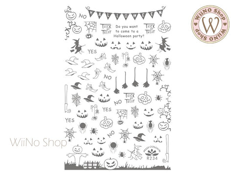 Silver Halloween Adhesive Nail Art Sticker - 1 pc (R234S)