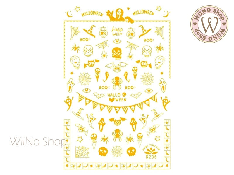 Gold Halloween Adhesive Nail Art Sticker - 1 pc (R235G)