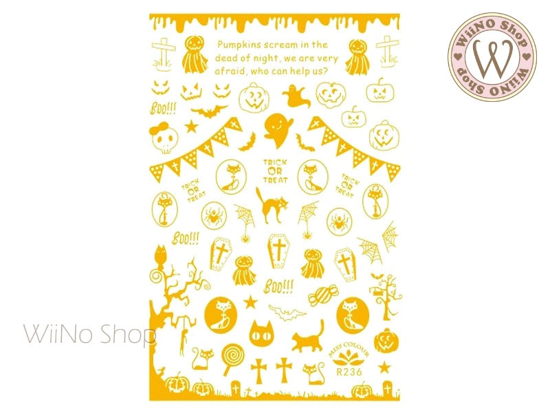 Gold Halloween Adhesive Nail Art Sticker - 1 pc (R236G)