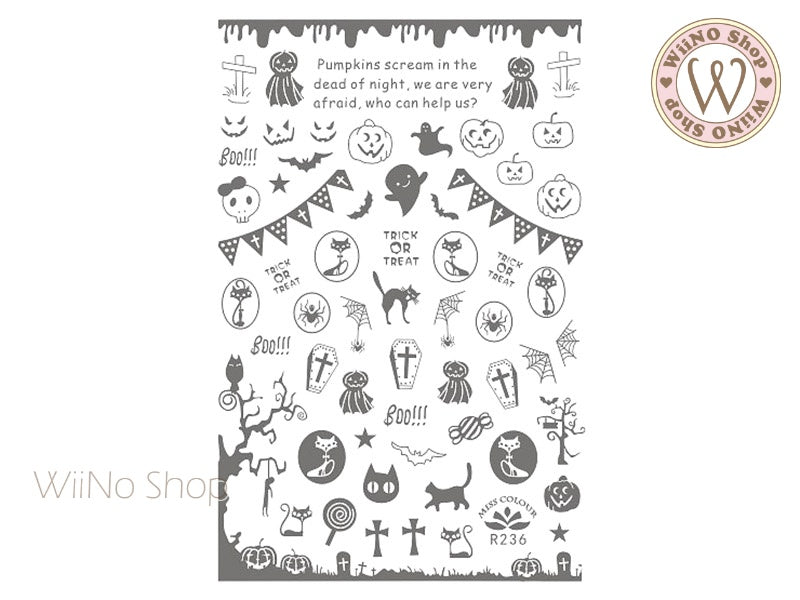 Silver Halloween Adhesive Nail Art Sticker - 1 pc (R236S)