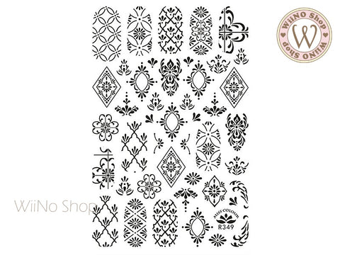 Black Moroccan Pattern Adhesive Nail Art Sticker - 1 pc (R349-B)
