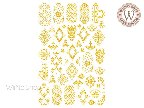 Gold Moroccan Pattern Adhesive Nail Art Sticker - 1 pc (R349-G)