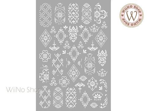 White Moroccan Pattern Adhesive Nail Art Sticker - 1 pc (R349-W)