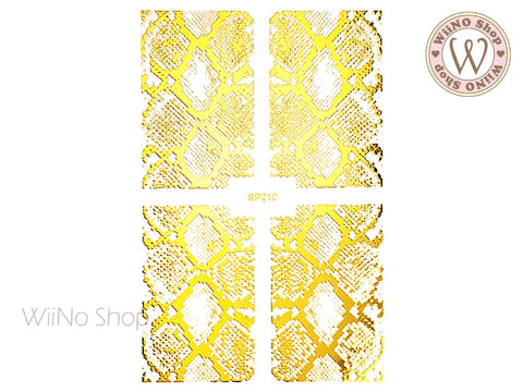 Gold Snake Print Adhesive Nail Art Sticker - 1 pc (SP210)