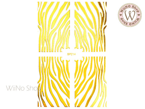 Gold Zebra Print Adhesive Nail Art Sticker - 1 pc (SP214)