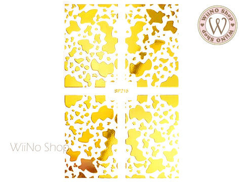 Gold Cow Print Adhesive Nail Art Sticker - 1 pc (SP215)