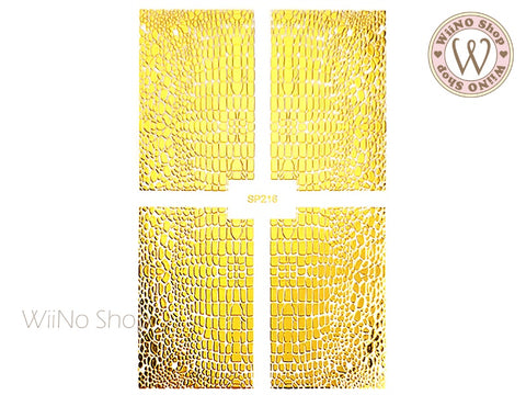 Gold Crocodile Print Adhesive Nail Art Sticker - 1 pc (SP216)