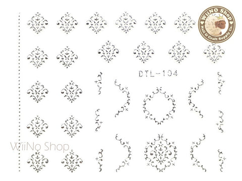 Silver Damask Adhesive Nail Art Sticker - 1 pc (DTL-104S)