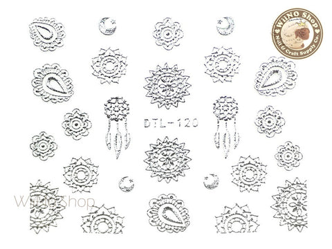 Silver Sun & Moon Tribal Adhesive Nail Art Sticker - 1 pc (DTL-120S)