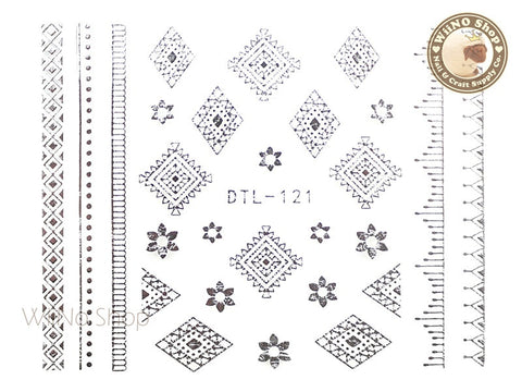 Silver Flower Tribal Adhesive Nail Art Sticker - 1 pc (DTL-121S)