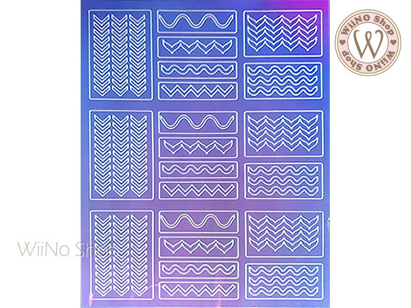 Chevron Wave Holographic Film Adhesive Sticker - 1 pc (TTZ01-13)