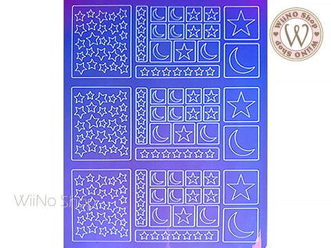 Star Moon Holographic Film Adhesive Sticker - 1 pc (TTZ01-8)