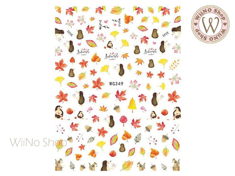 Autumn Hedgehog Nail Art Sticker - 1 pc (WG349)