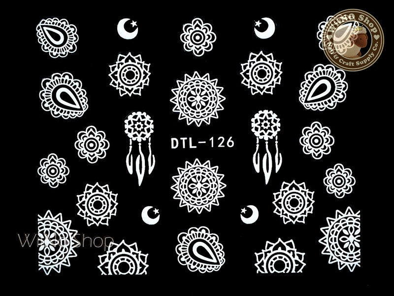 White Sun & Moon Tribal Adhesive Nail Art Sticker - 1 pc (DTL-126W)