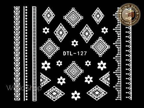 White Flower Tribal Adhesive Nail Art Sticker - 1 pc (DTL-127W)