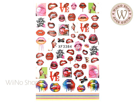 Lips Adhesive Nail Art Sticker - 1 pc (XF3384)