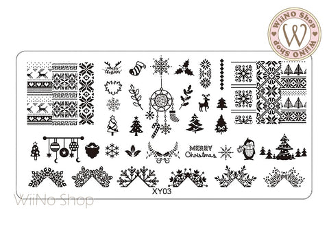 Christmas Nail Art Stamping Plate Template (XY03)