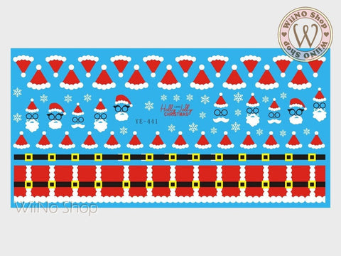 Santa Claus Christmas Water Slide Nail Art Decals - 1pc (YE-441)