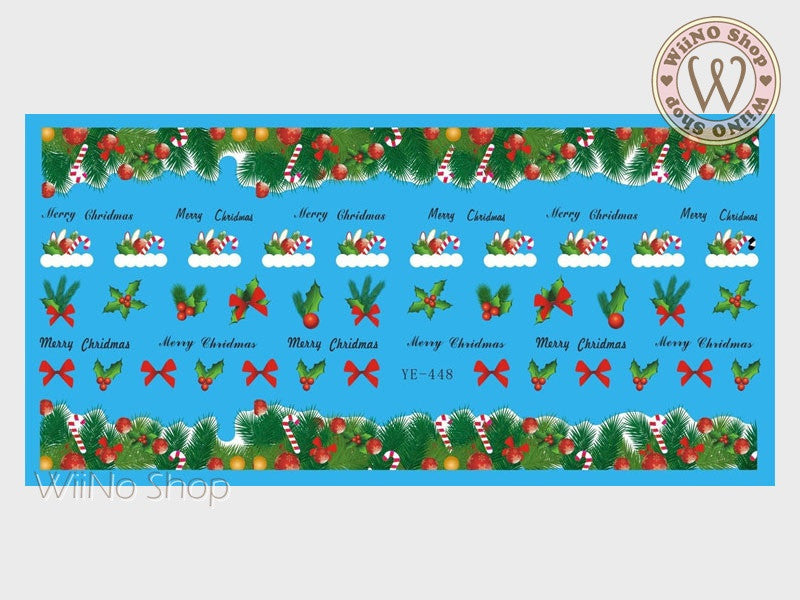 Christmas Floral Mistletoe Water Slide Nail Art Decals - 1pc (YE-448)