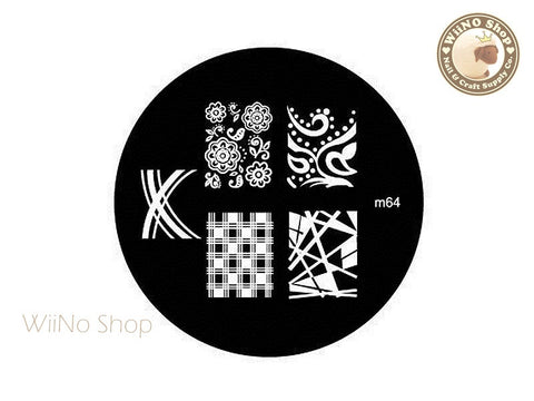 m064 Nail Art Stamping Plate Template