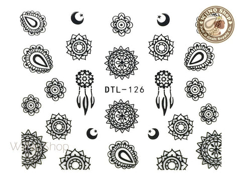 Black Sun & Moon Tribal Adhesive Nail Art Sticker - 1 pc (DTL-126B)