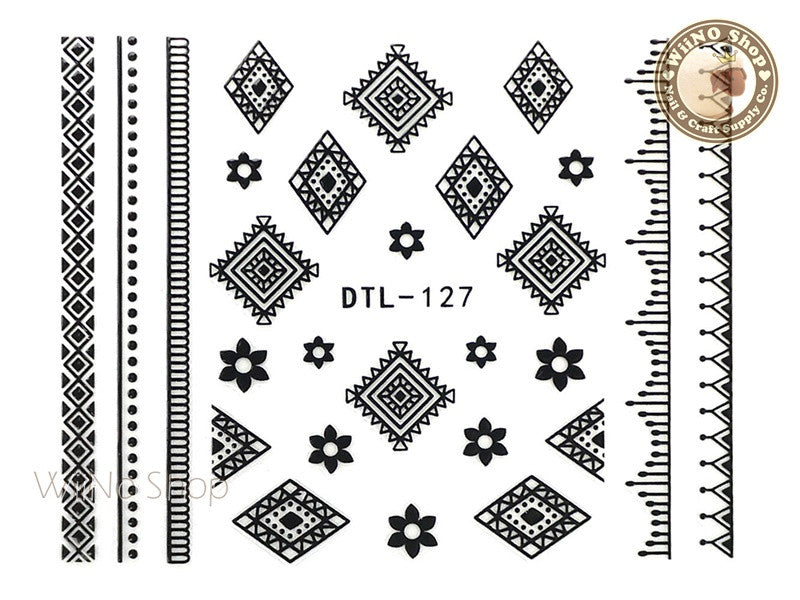 Black Flower Tribal Adhesive Nail Art Sticker  - 1 pc (DTL-127B)