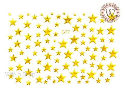 Gold Star Adhesive Nail Art Sticker - 1 pc (G-77)