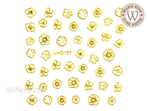 Gold Flower Adhesive Nail Art Sticker - 1 pc (U+G157)