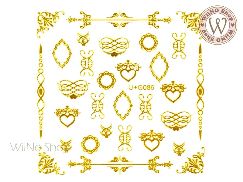 Gold Lace Pattern Adhesive Nail Art Sticker - 1 pc (U+G086)