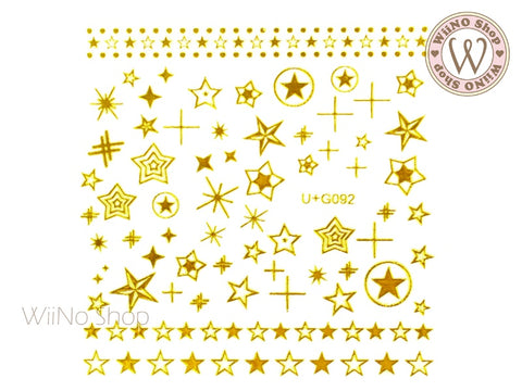 Gold Star Adhesive Nail Art Sticker - 1 pc (U+G092)