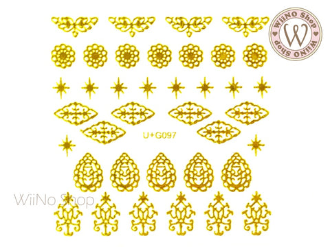 Gold Vintage Pattern Adhesive Nail Art Sticker - 1 pc (U+G097)