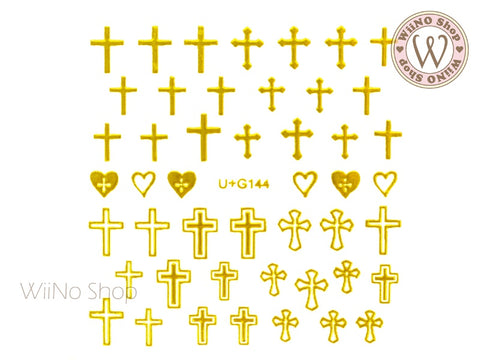 Gold Cross Adhesive Nail Art Sticker - 1 pc (U+G144)