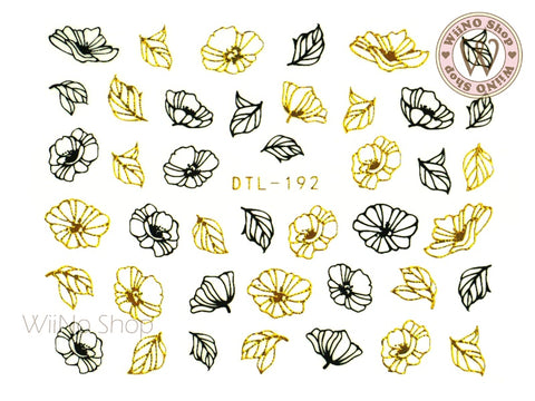 Gold Black Petunia Flower Nail Art Sticker - 1 pc (DTL-192GB)