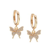 Load image into Gallery viewer, Pavè Butterfly Earrings
