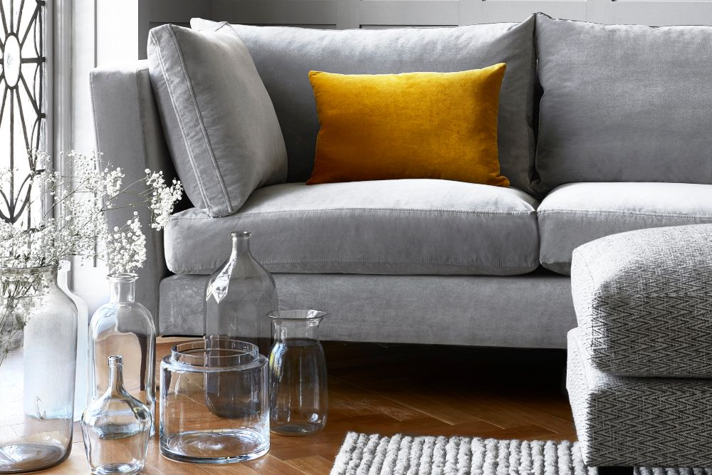 Grey interiors ideas grey sofa and yellow scatter cushion