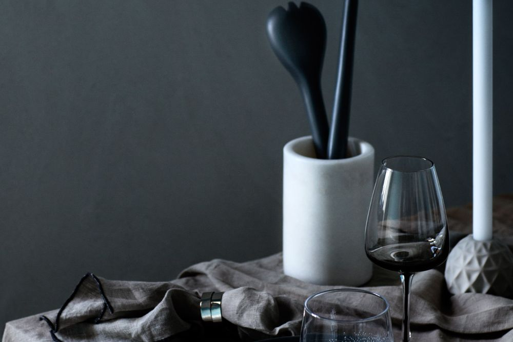 Grey interiors ideas charcoal wall paint and tableware
