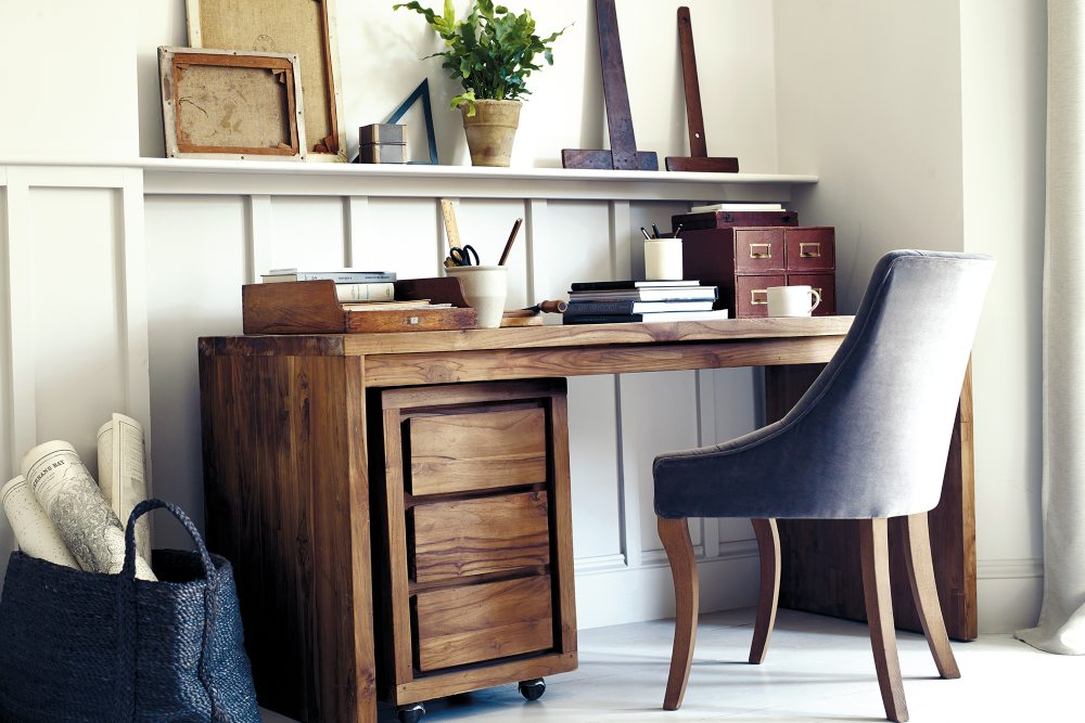 home office ideas hudson desk and velvet chair