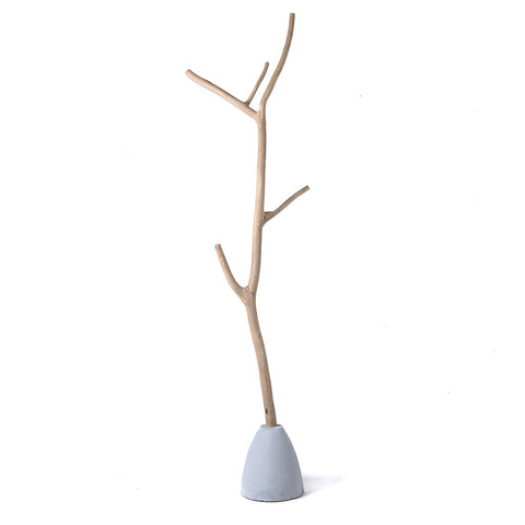 Teak Branch Coat Stand - Natural - Cement Base