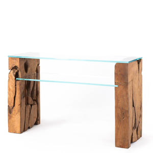 Teak Root Glass Console Table