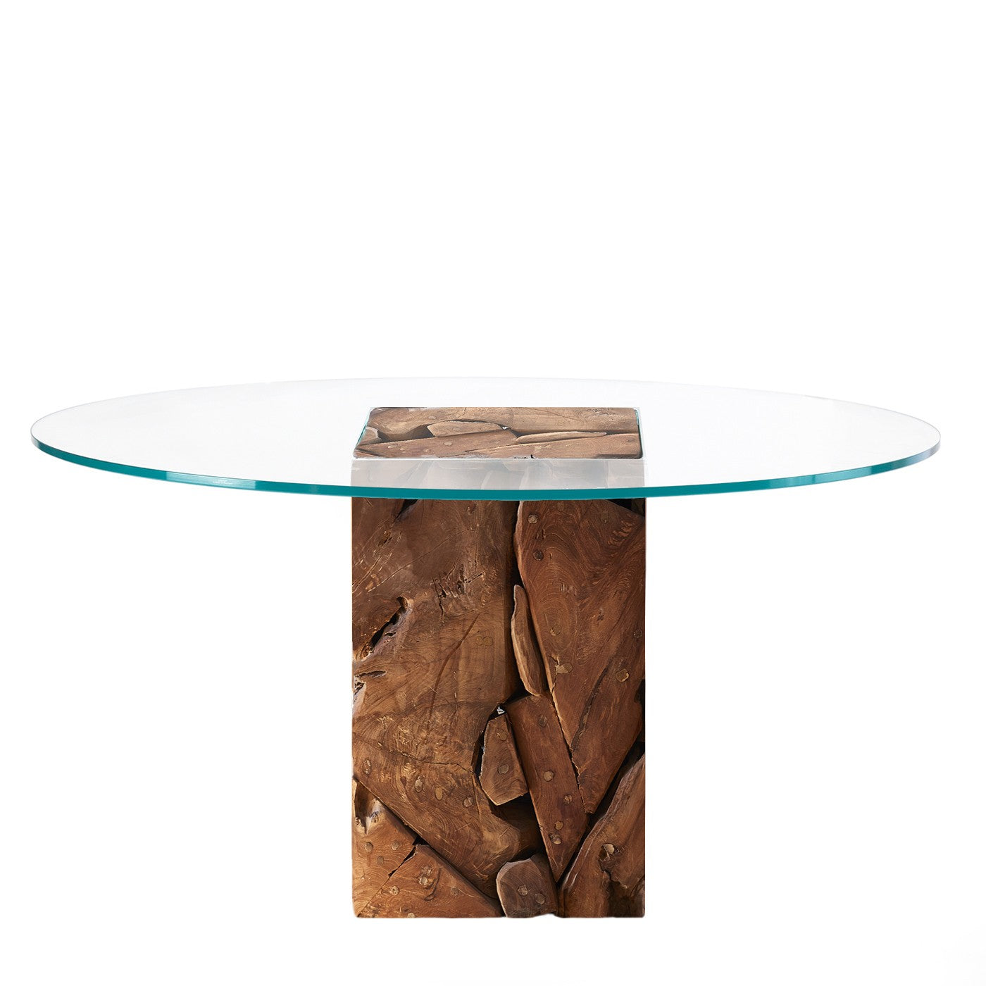 Teak Root Base Glass Dining Table