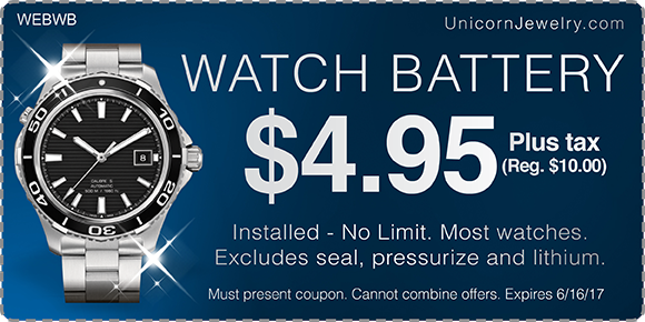 Fully Installed Watch Battery, Just $4.95 plus tax