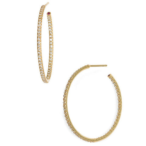 Roberto Coin 18K Yellow Gold Inside Out Diamond Hoop Earrings 000601AYERX0