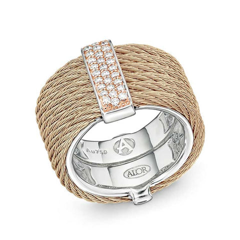 ALOR Carnation Cable Monochrome 18kt Rose Gold & Diamond Ring 02-26-S615-11