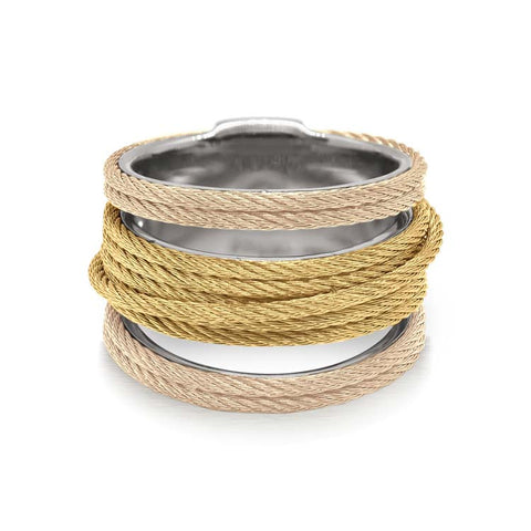 ALOR Carnation & Yellow Cable Simple Stack Ring 02-31-S423-00