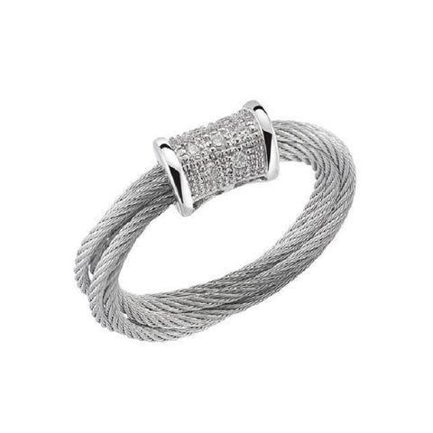 Charriol Modern 18K White Gold Cable Diamond Ring 02-32-S505-11