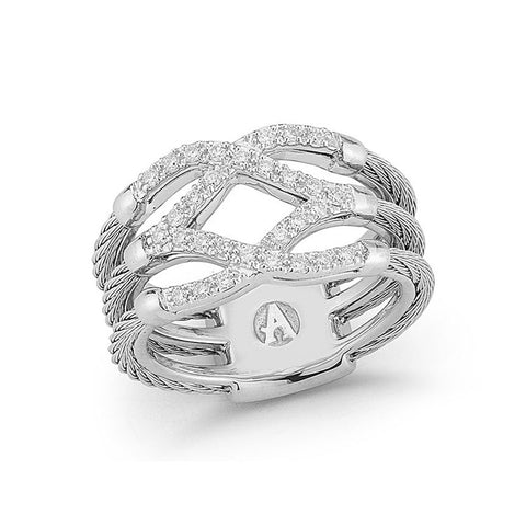 ALOR Classique 18K White Gold Grey Cable Diamond Ring 02-32-S357-11