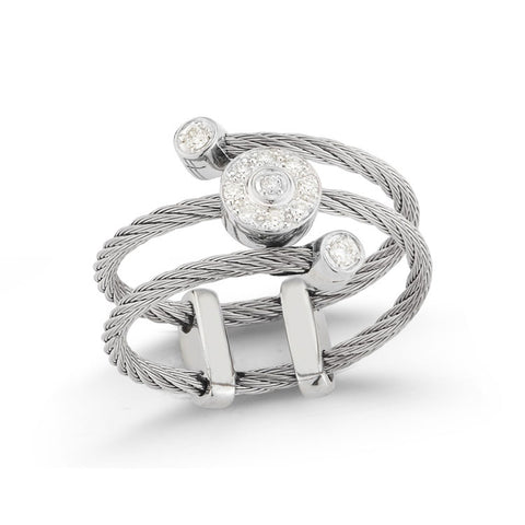 ALOR Classique 18K White Gold Grey Cable Diamond Ring 02-32-S462-11