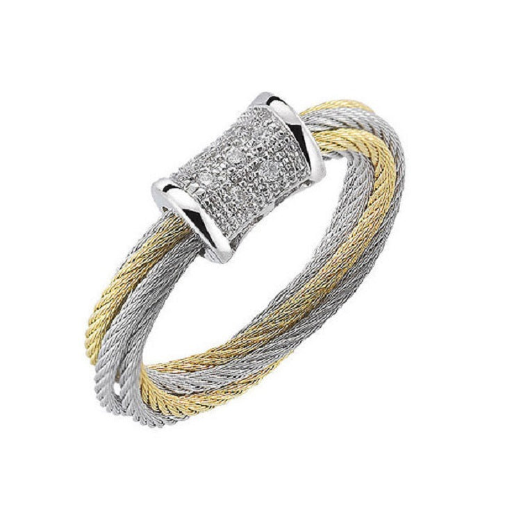 Charriol Modern 18K White Gold Cable Diamond Ring 02-34-S505-11