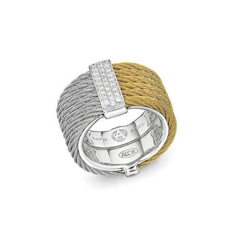 ALOR Classique 18K White Gold Yellow Stainless Steel Cable Ring 02-34-S615-11